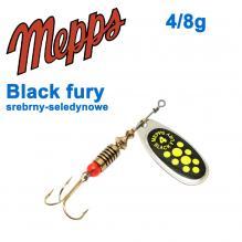 Блесна  Mepps BLACK FURY srebrny/seledynowe chartr. 4/8g