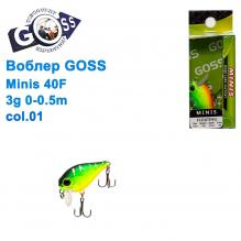 Воблер Goss Minis 40F W4,3g 0-0,5m col. 01