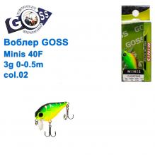 Воблер Goss Minis 40F W4,3g 0-0,5m col. 02