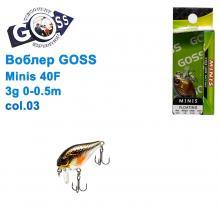 Воблер Goss Minis 40F W4,3g 0-0,5m col. 03