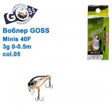 Воблер Goss Minis 40F W4,3g 0-0,5m col. 05