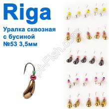 Мормышка вольф. Riga 146035 уралка сквозная с бусиной №53 3,5мм (25шт)