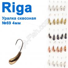 Мормышка вольф. Riga 107040 уралка сквозная №69 4мм (25шт)
