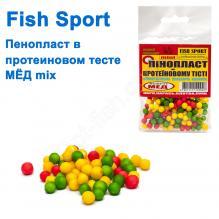 Пенопласт в протеиновом тесте Fish Sport mini (мед MIX) NEW